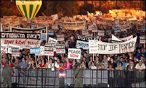 Tens of thousands of Israelis have taken to the streets of Tel Aviv to demand the immediate withdrawal of the Israel army and settlers from Palestinian territories